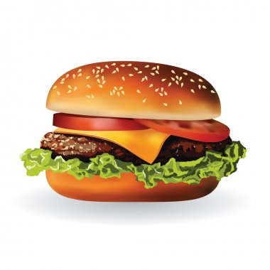 Hamburger with meat, lettuce, cheese and tomato stock vector