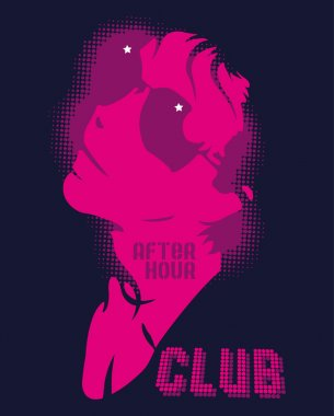 Illustration of girl in a night club after the hour