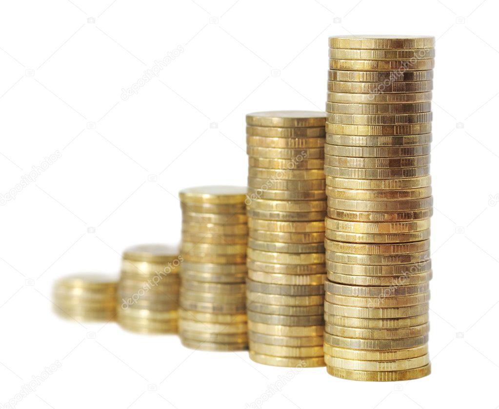 Business Diagramm Wird Aus Goldenen Münzen Hergestellt Stockfoto