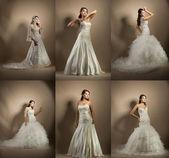 koláž fotografií s ženou ve svatebních šatech