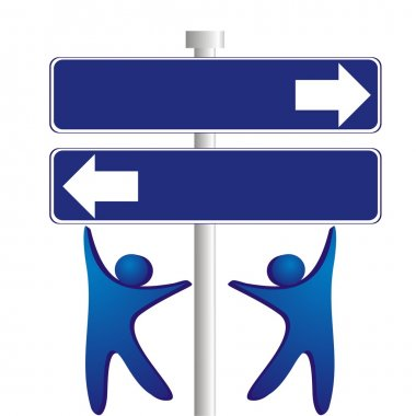 Concept - different direction in business. Object over white