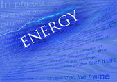 energie text na modrém pozadí