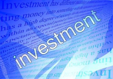 Text investment and blue background