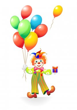 Funny clown with baloons and gift