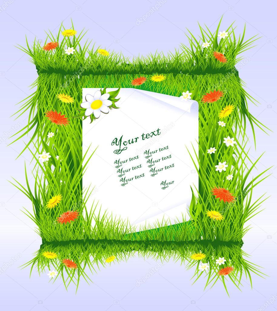 Letter in grass
