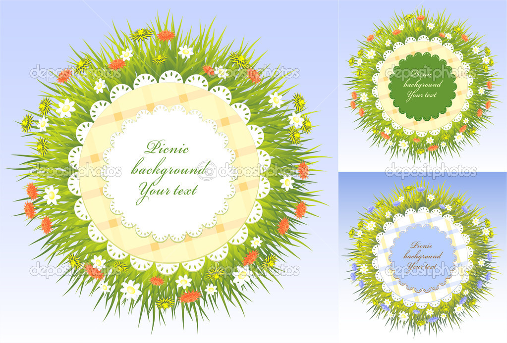 Set Picnic frames with grass and flowers — Stock Vector © kulik_oks ...