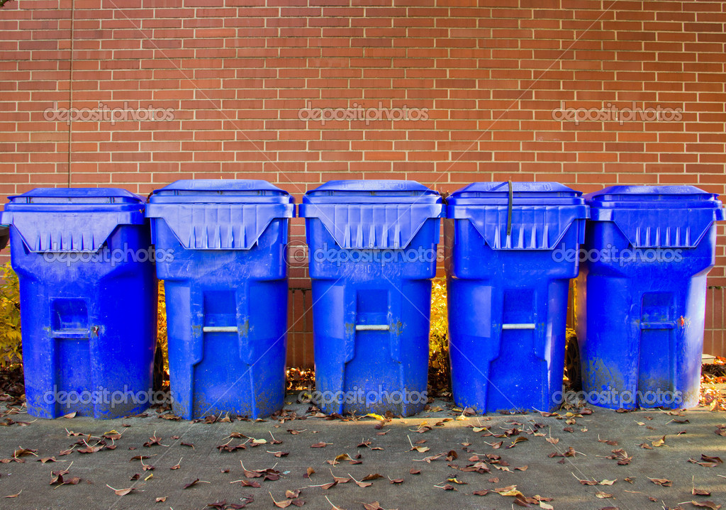 Five Bright Blue Recycle Bins