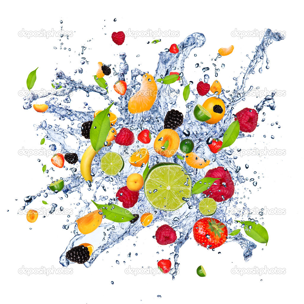 Mix fruits in splash