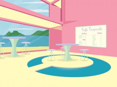 A tropical cocktail cafe in vector format.