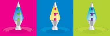 Retro rocket style lava lamps in vector format.