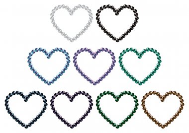 South sea black pearl hearts in vector format.
