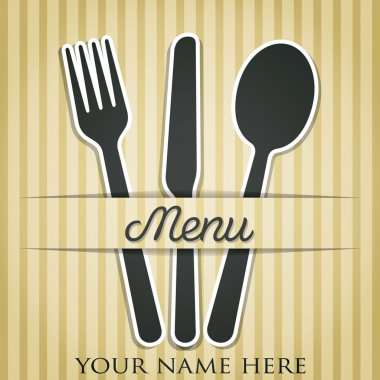 Cream Cutlery theme paper cut out menu in vector format.