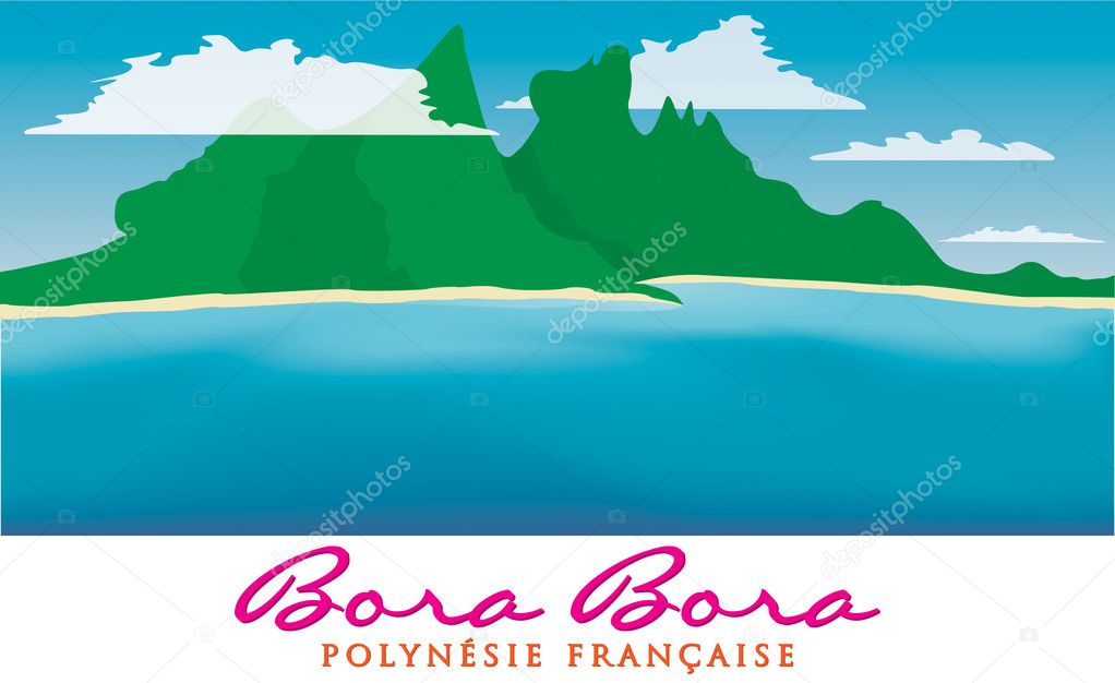 Otemanu mountain of Bora Bora, French Polynesia in vector format.