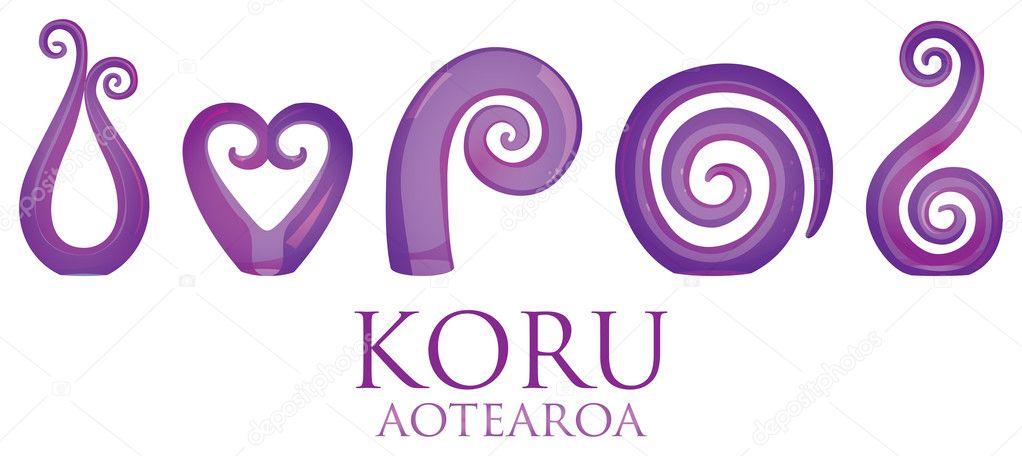 ac17de3327906 A set of glass Maori Koru curl ornaments. — Stock Vector © piccola ...