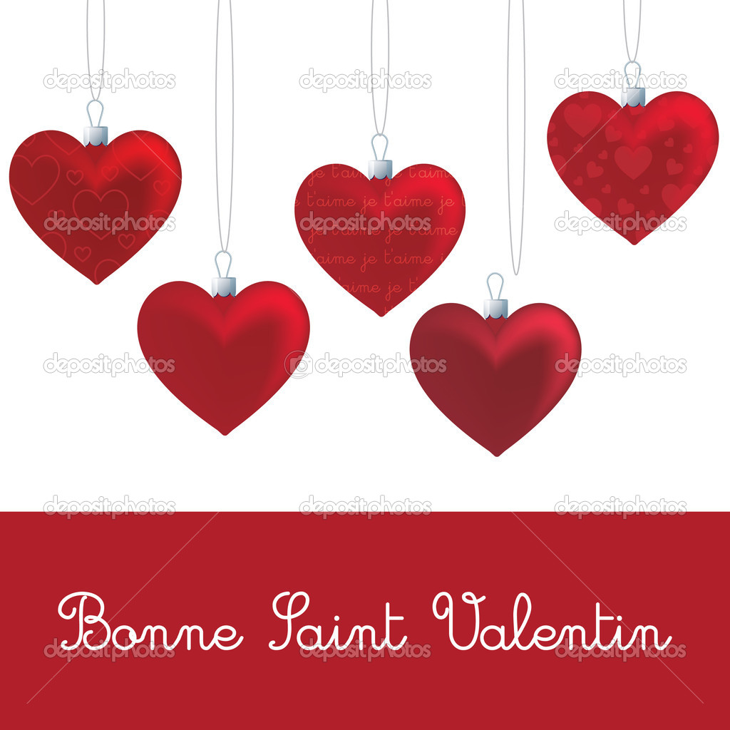 French U0027Happy Valentineu0027s Dayu0027 Heart Card In Vector Format. U2014 Vector By  Piccola