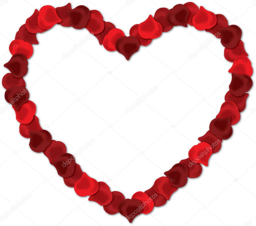 Red rose petal heart vector image on a white background.