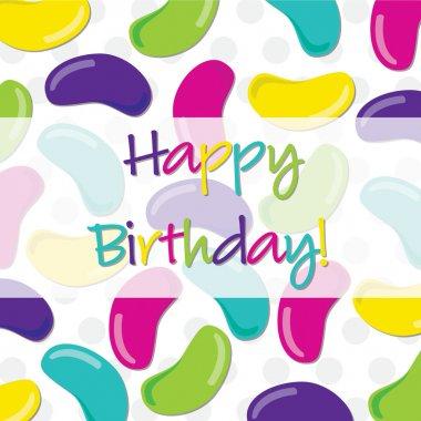 Jelly bean Happy Birthday card in vector format.