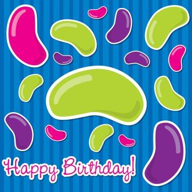 Happy Birthday jelly bean sticker card in vector format.