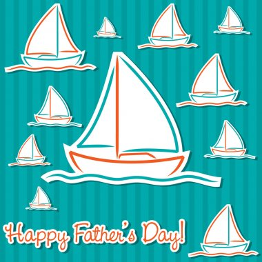 Bright Father's Day sailing boat cards in vector format.