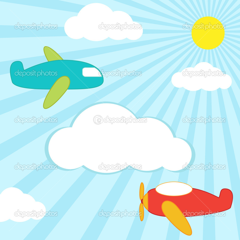 Картинки для детей самолеты летят сквозь облака