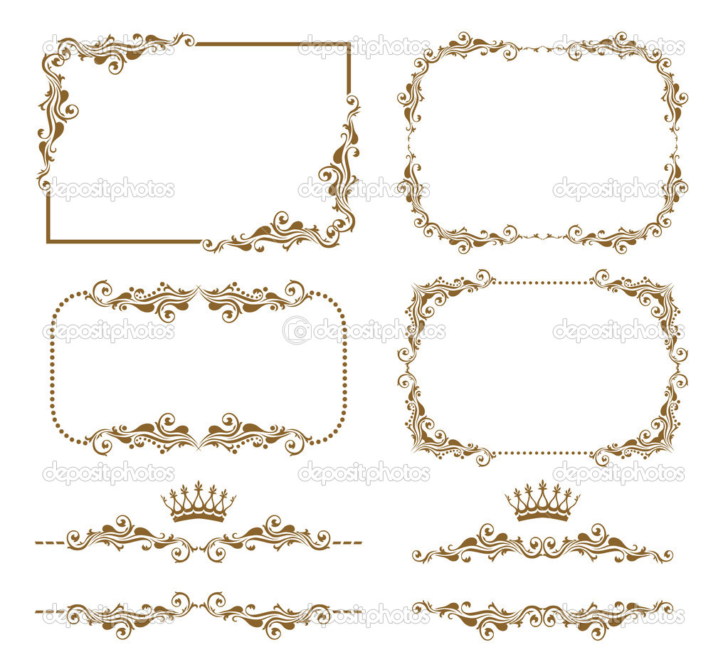 Vector set of decorative horizontal elements, border and frame. Basic elements are grouped. clipart vector