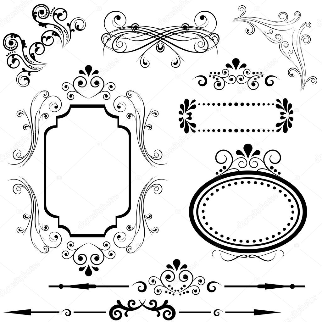 Border and frame designs — Stock Vector © soleilc #8323572