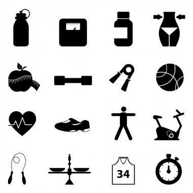 Fitness, diet and healthy lifestyle icon set clip art vector