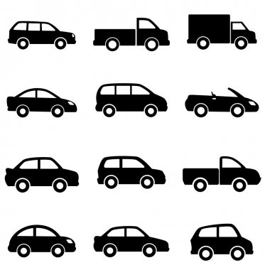 Cars and trucks in black stock vector