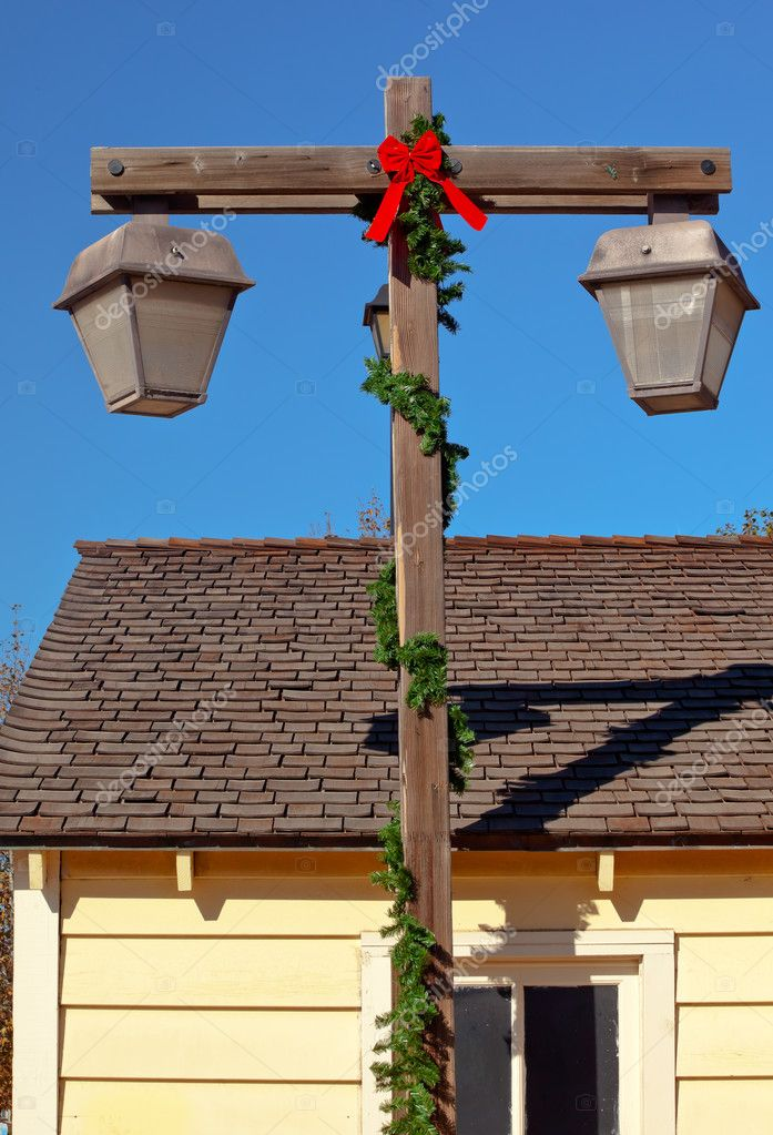 Weihnachten Lampe Post San Diego Altstadt Dächer Kalifornien ...