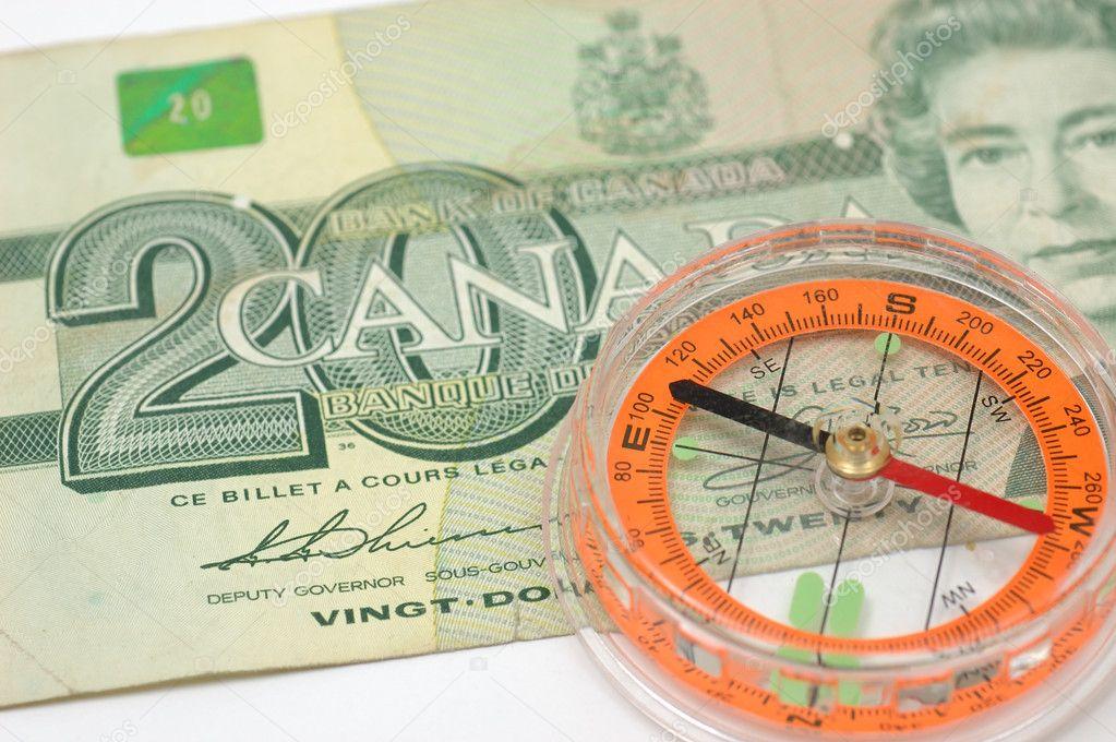 Kanada Doları Faturada Pusula Stok Foto Bedobedo 8873510