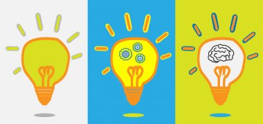 Idea lamp, gear progress, smart brain