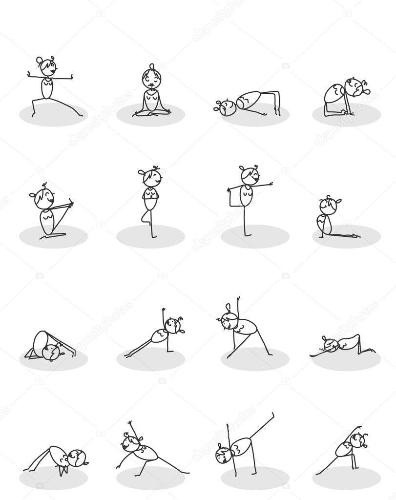 Satz von Yoga-Posen — Stockvektor © redrockerz99 #9761727