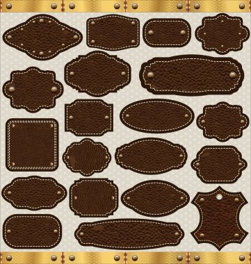Leather vintage LABELS set