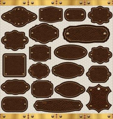 Leather vintage LABELS set stock vector