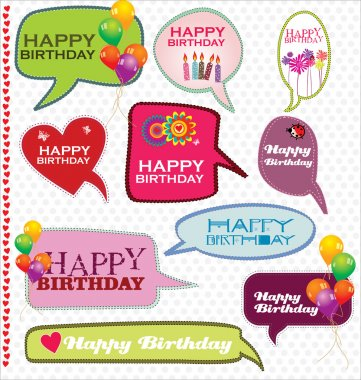 Speech bubbles retro design - Happy Birthday