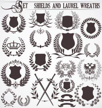 Set - shields and laurel wreaths