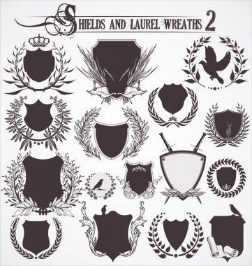 Shields And Laurel Wreaths - set 2