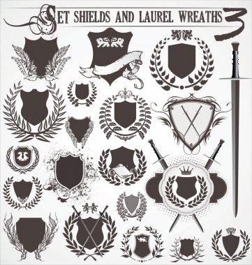 Set - shields and laurel wreaths 3