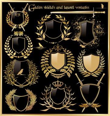 Golden shields and laurel wreaths