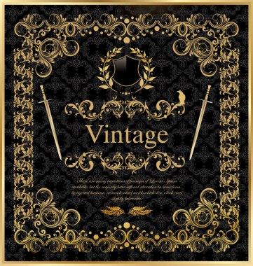Vintage gold black frame decor label