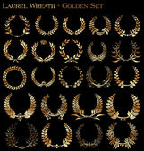 Fotografie Set from gold laurel wreath on the black background