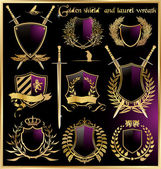 Fotografie Golden shield and laurel wreath set