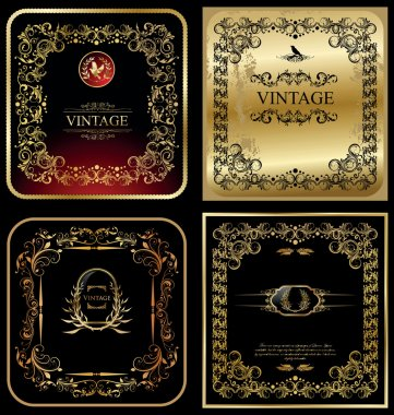 Golden vintage frames - set