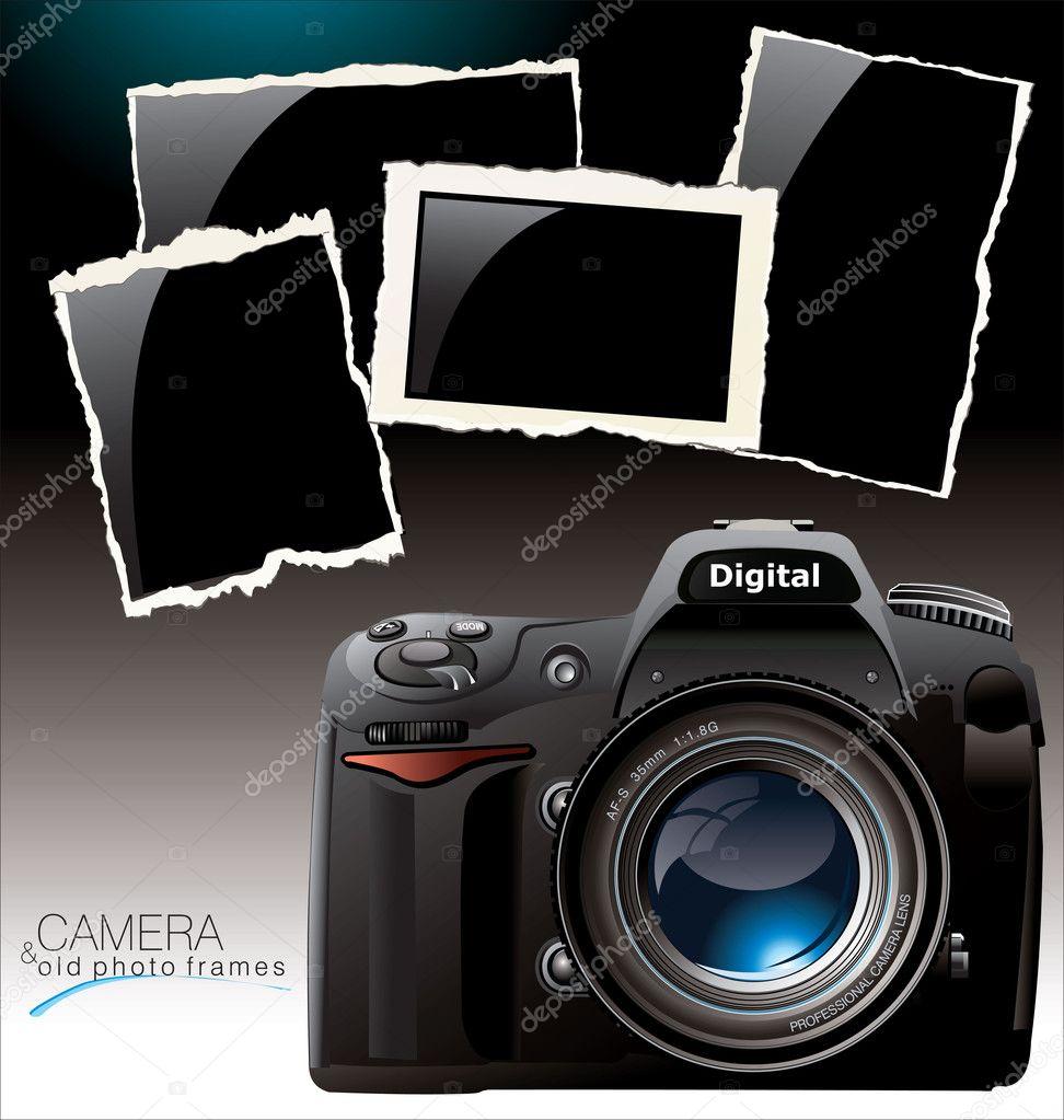 cámara de fotos y marcos de fotos antiguas — Archivo Imágenes ...
