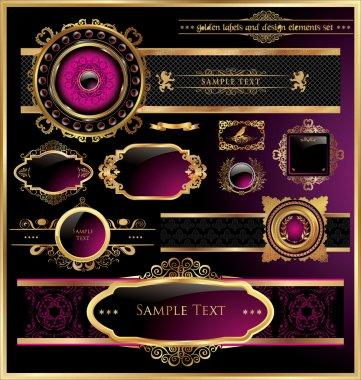 Vector set of black purple - framed labels