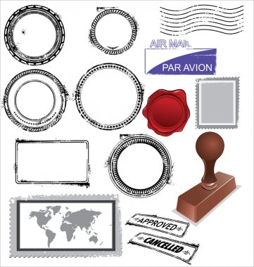 Empty postage stamps, rubber stamps and wax seal clip art vector
