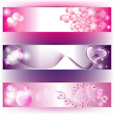 Set of 3 purple banners with hearts