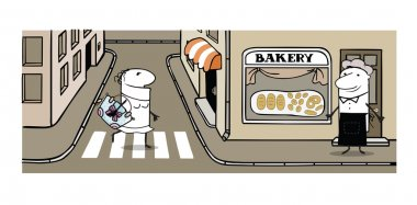 Vector illustration of street wiht bakery, baker and woman