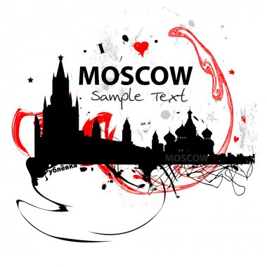 Art vector skyline of Moscow