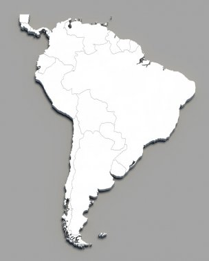 3D south america white map on grey
